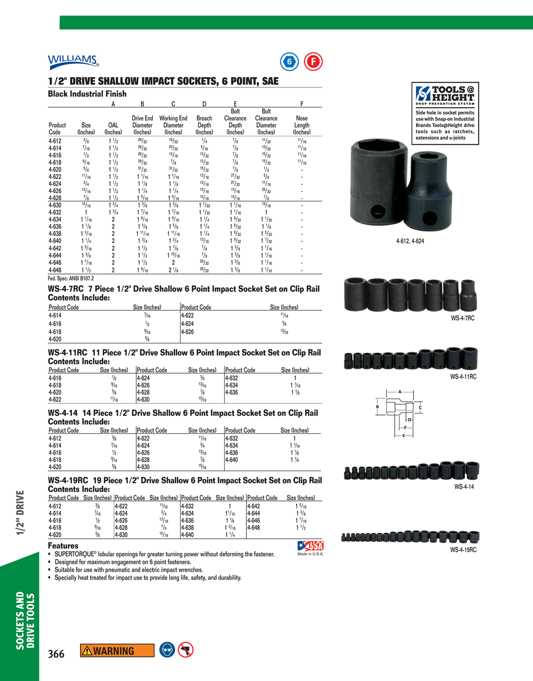 6 Point 1-1//2-Inch SnapOn Williams 4-648 1//2 Drive Shallow Impact Socket