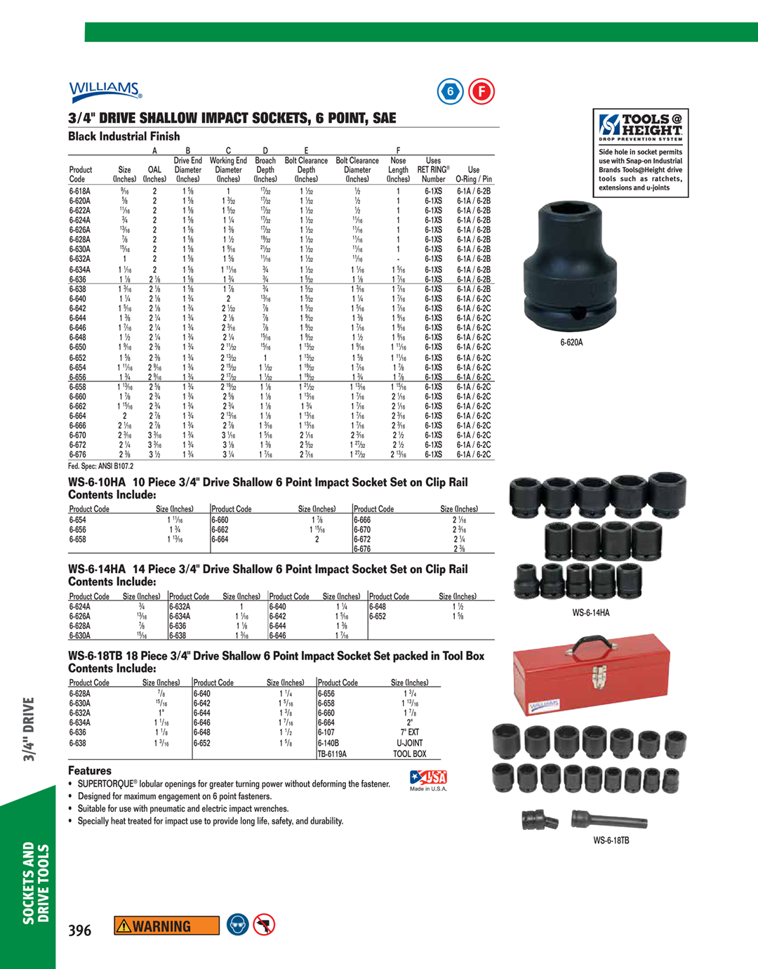 Williams 38132 3//8-Inch Drive 1-Inch Impact Shallow Socket