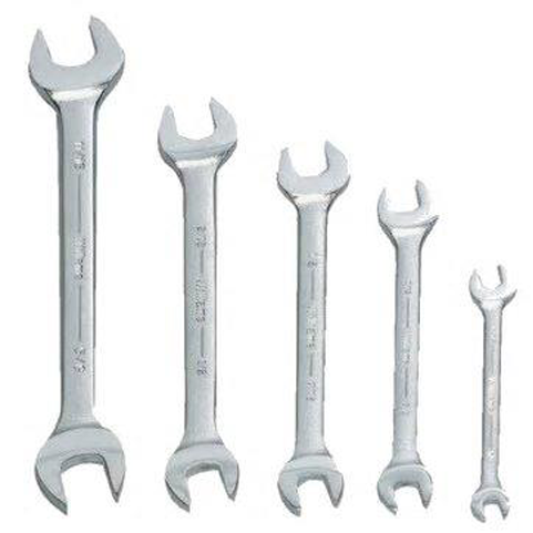 Williams WS-1605 |<br>Satin Chrome Short Open End Wrench Set 5 Pc - 3/16 - 1/2